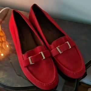 Red kid suede loafers